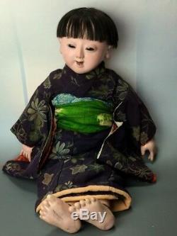 Antique Meiji Era Japanese Ichimatsu Large Gofun Boy Doll Kimono 22.5 Japan