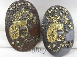 Antique Meiji Japanese Shakudo pair 2 Buttons (earrings)