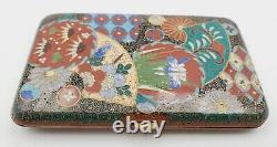 Antique Meiji Period Japanese Cloisonne Floral Geometric Design Cigarette Case