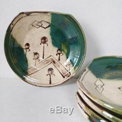Antique Oribe pottery dish 5 pcs Japan retro popular rare beautiful EMS F/S