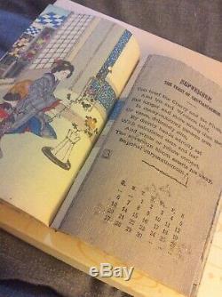 Antique Rare Japanese Woodblock Print Crepe Paper Book Chirimenbon Hasegawa 1903