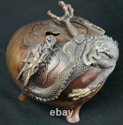 Antique Ryu dragon Japan bronze Koro incense burner 1900s censer art
