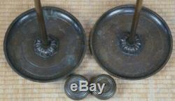 Antique Shokudai traditional Japanese bronze candle stand 1878 Japan lamp
