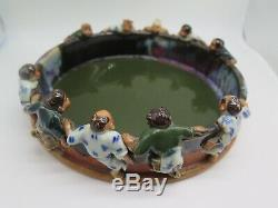Antique Sumida Gawa Japanese Round Bowl with 10 Figures on Ledge
