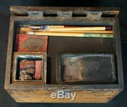 Antique Suzuribako Japan Zen writing cabinet 1800's Japanese craft
