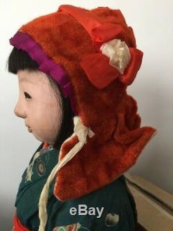 Antique Taisho Era Japanese Ichimatsu Large Gofun Girl Doll Kimono 23.5 Japan