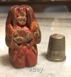 Antique Wooden Japanese Netsuke of a Nara Ningyo (ningy) Doll Edo Period