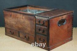 Antique big Nagahibachi Japanese tea cabinet 1890 Japan Tansu furniture