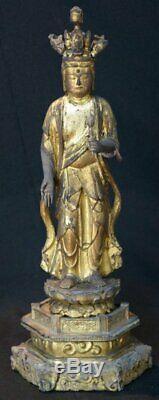 Antique wood Buddha Japan sculpture 1800 Butsuzo Japanese temple art