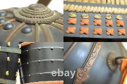 Authentic Japanese Samurai Armor Edo Period Kabuto Dragon with Clan Kamon Box