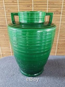 Awaji Pottery Double Handle Vase Japan 11-1/2in Art Deco