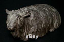BOS128 Japanese old Bronze 2 Sheep ornament withbox # Okimono meiji