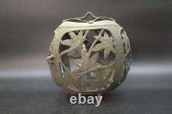 BT150 Japanese Antique temple Hanging lantern Buddhism bronze openworked leaves
