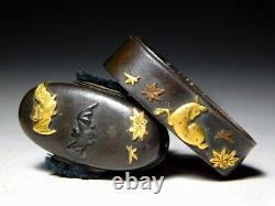 Bat & Deer Shibuichi FUCHI/KASHIRA Japan Original Edo Sword Tsuba Antique