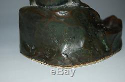 Bronze figure of kappa water imp, goblin at a basin, Japan