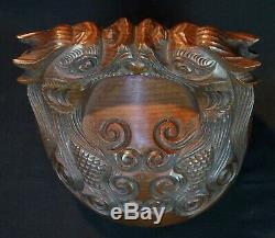 Buddhist chanting bell Mokugyo 1900s Japan Kiri wood carving art craft