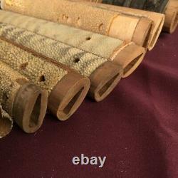 D1273 Japanese Edo Samurai TSUKAGI Wood Sharkskin Large lot! Katana koshirae