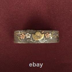 D1287 Japanese Edo Samurai Prum&Kabuto Inlay IRON FUCHI KASHIRA katana koshirae