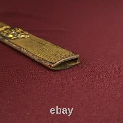 D1325 Japanese Edo Samurai Shakudo Nanakoji Gold foiled KOZUKA katana koshirae
