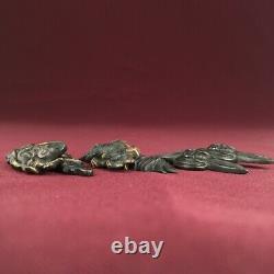 D1326 Japanese Edo Samurai Good Various Shakudo MENUKI 3SET katana koshirae