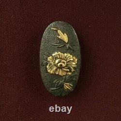 D1333 Japanese Edo Samurai Botan-jishi Shakudo gold FUTATOKORO katana koshirae