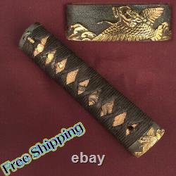 D1334 Japanese Edo Samurai WAKIZASHI TSUKA katana koshirae Shakudo Yinglong