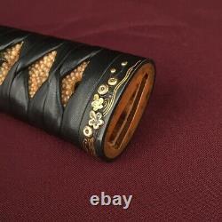 D1350 Japanese Edo Samurai Leather Ito Shakudo WAKIZASHI TSUKA katana koshirae
