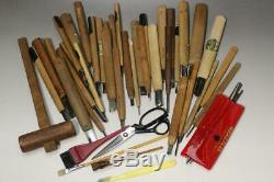 DT10 Japanese old chisels & Steel files hamono # Buddha Noh mask