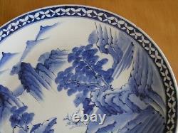 Early Japanese Signd Arita Ko-Imari Chinese Blue White Ceramic Porcelain Charger