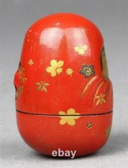 FINE Quality Antique Japanese Lacquered Wooden Netsuke inr inro SIGNED Kajikawa
