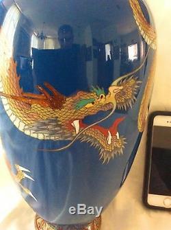 Fine Large Antique Japanese Cloisonne, Flying Dragon, Meiji, 12.6 High