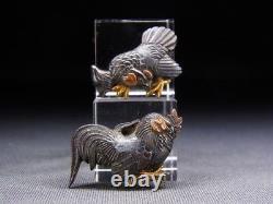 Fine MENUKI 18-19th C Japanese Edo Antique Koshirae fitting Chicken e497