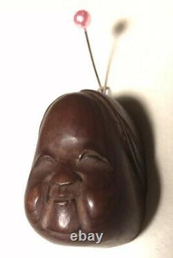Finely Carved Antique Wooden Japanese Netsuke Mask Okame (Otafuku) Mennetsuke