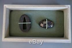 Fuchi Kashira Japan Samurai sakura Heianjo brass inlay tsuba sword fitting