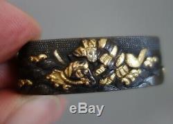 Fuchi kashira Japan Samurai battle Uji nanako gold inlay Sword fitting tsuba