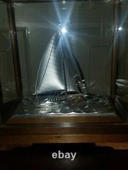 GREAT CASED JAPANESE SEKI TAKEHIKO Sterling silver 960 sailing ship yacht boat