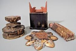 Group Japan Japanese Gilt Polychrome Wood Buddhist Altar Elements ca. 19-20th c