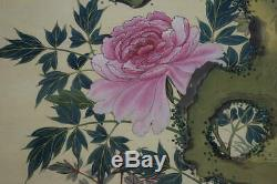 HANGING SCROLL JAPANESE PAINTING FROM JAPAN Peacock PEONY ANTIQUE Old ART 211m
