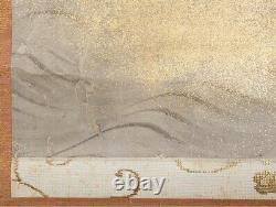 HANGING SCROLL JAPANESE PAINTING JAPAN Crane Antique Old Sakai Houichi Art e270