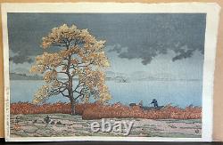 Hasui Kwase Rain On Lake Matsui Antique Japanese Woodblock Print