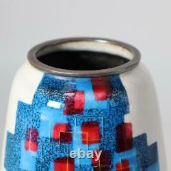Hiroaki Ota Japanese cloisonne enamel sippou vase w / box OSV08