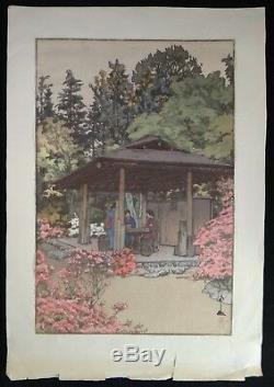 Hiroshi Yoshida Woodblock- Azalea Garden, c. 1935. 14 ¾ x 9 ¾