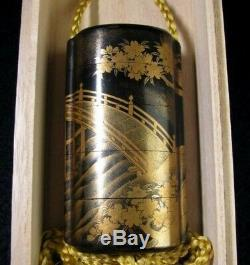 INRO Netsuke Gold Makie Ojime Antique lacquer Japan