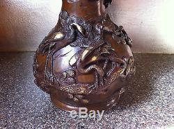 Important Antique Japanese Meiji Gilt Bronze Dragon Vase-Signed