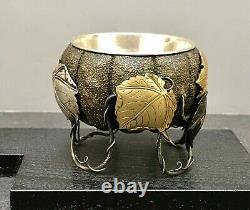 Impressive Japanese Meiji Mix-metal Silver, Gold, shakudo & Bronze Bowl -Pumpkin