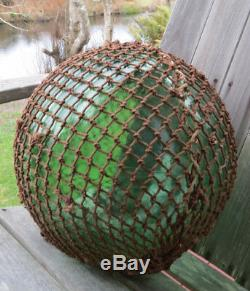 JAPANESE GLASS FLOAT 14D Green XL Fishing NET Seam Crack Antique 18B