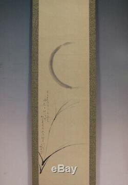JAPANESE PAINTING HANGING SCROLL From JAPAN Moon PICTURE VINTAGE ORIGINAL 030p
