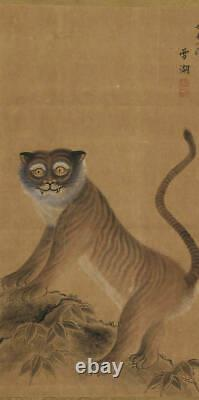 JAPANESE PAINTING HANGING SCROLL JAPAN TIGER Old PICTURE ANTIQUE 778p