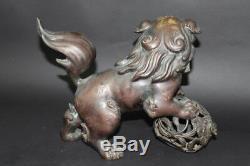 JAPANESE Vintage BIG BRONZE FOO DOG LION SHISHI GOLD STATUE from JAPAN a318