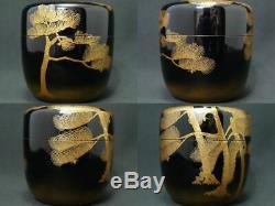 Japan Lacquer Wooden Tea caddy PINE TREES makie Natsume Nashiji Ikko Kiyose J21